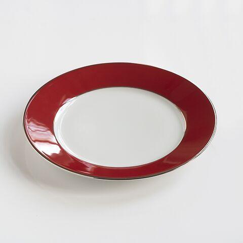 Porcelaine de Limoges Mittlerer Teller Himbeerrot