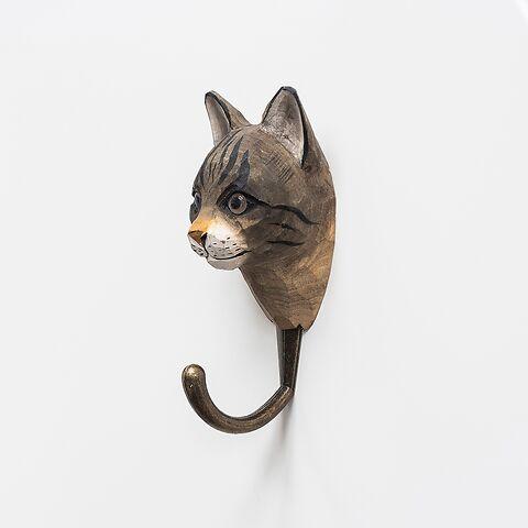 Handgeschnitzter Kleiderhaken Katze