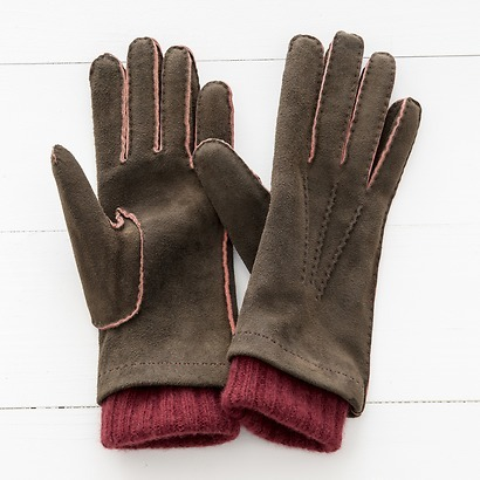 Damen Handschuh mit Stulpe aus Ziegenleder