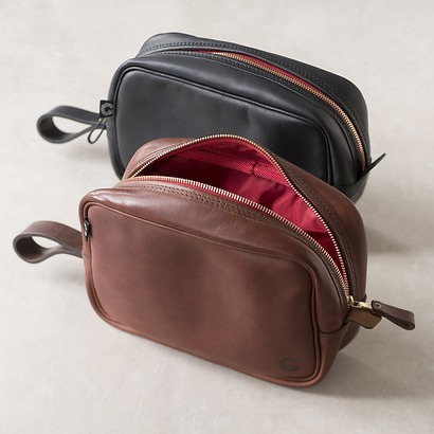 Croots Vintage Leather Washbag