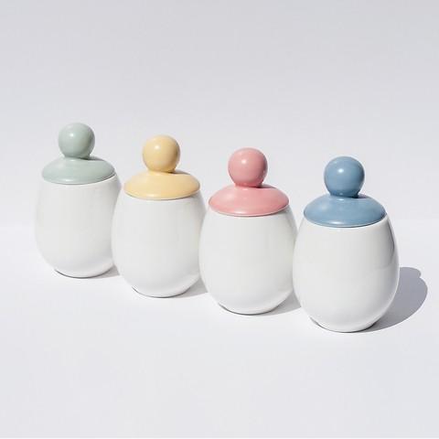 Äggcøddler mit pastellfarben glasiertem Deckel 125 ml