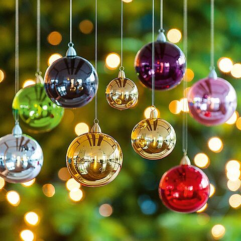 Lauschaer Weihnachtskugeln.12 Lauschaer Weihnachtskugeln 6 Cm