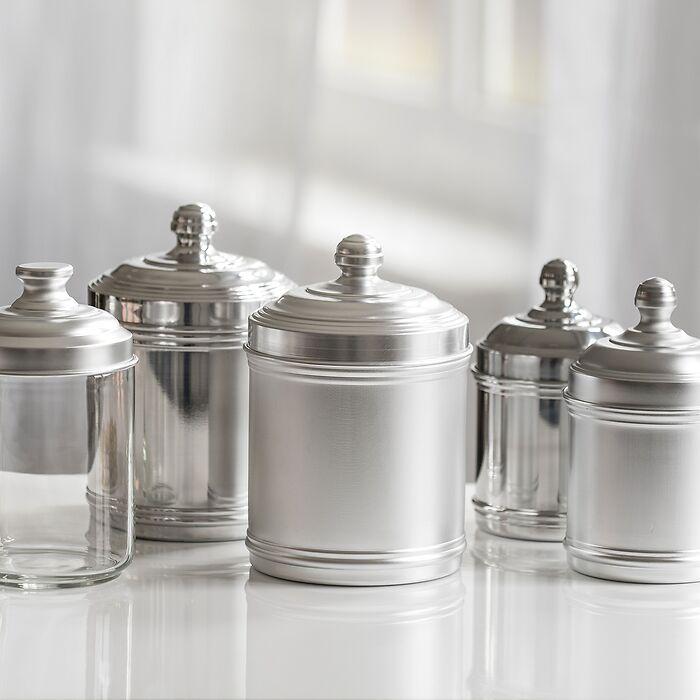 Italo Ottinetti Vorratsgefäße aus Aluminium glänzend groß