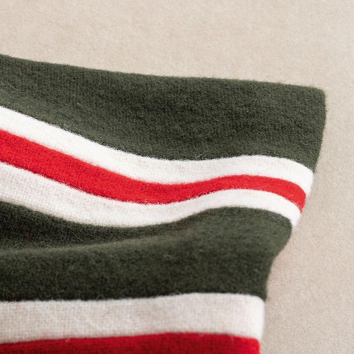 Englischer College Schal Grün mit Weiß-Roten Streifen