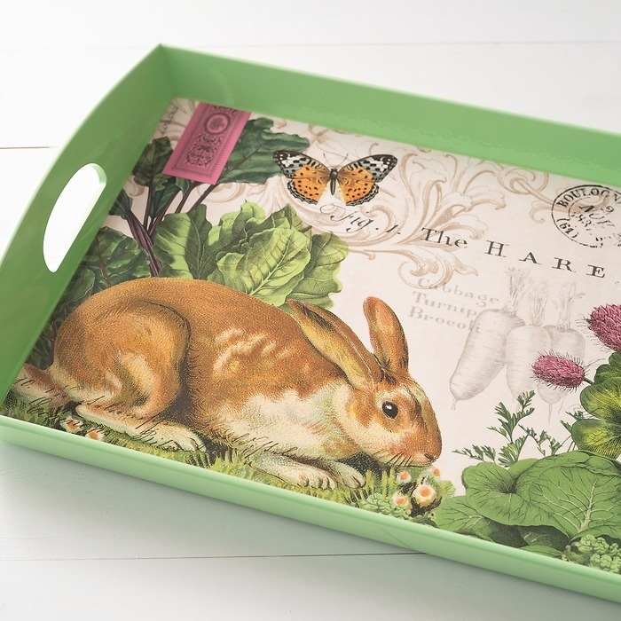 Decoupage Tablett Garden Bunny