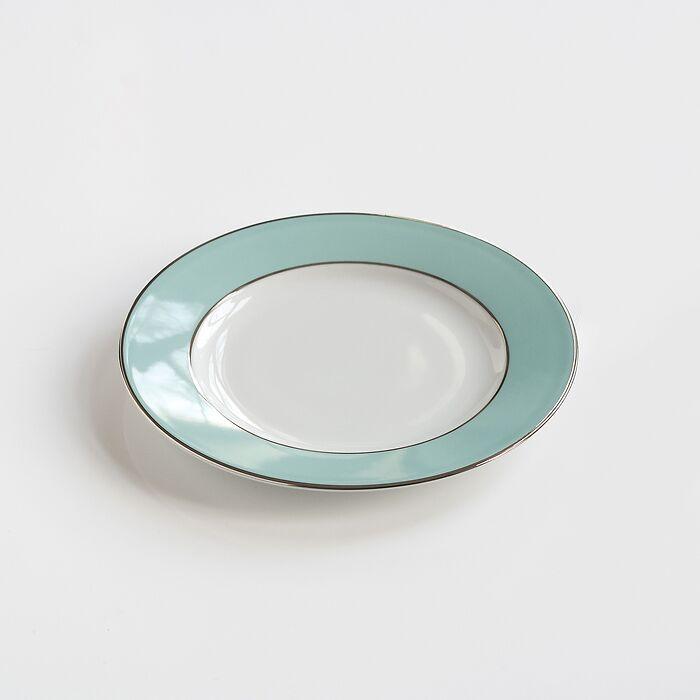 Porcelaine de Limoges Kuchenteller Platindekor Mintgrün