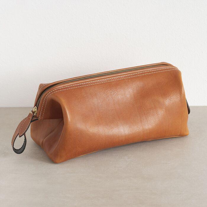 Hammann Riesen-Kulturtasche aus Stierleder Cognac