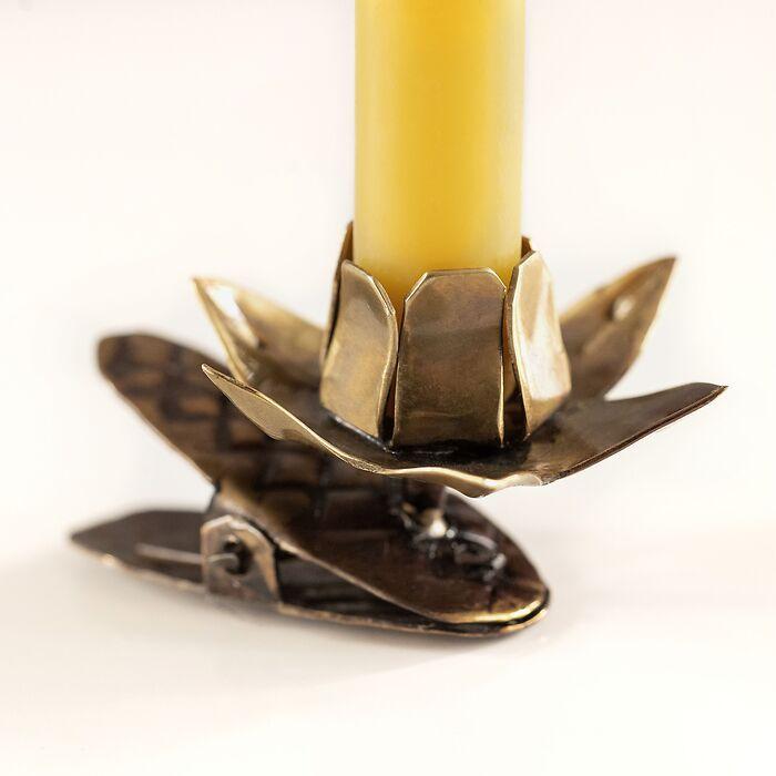 Messing-Kerzenhalter Lotusblüte
