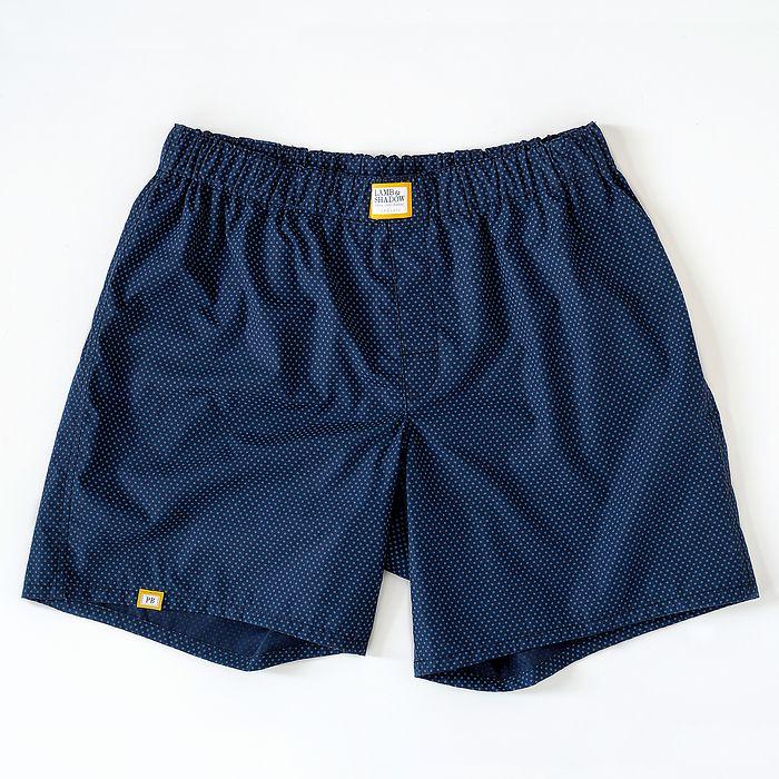 Lamb & Shadow Boxershorts Dunkelblau mit blauen Punkten XL