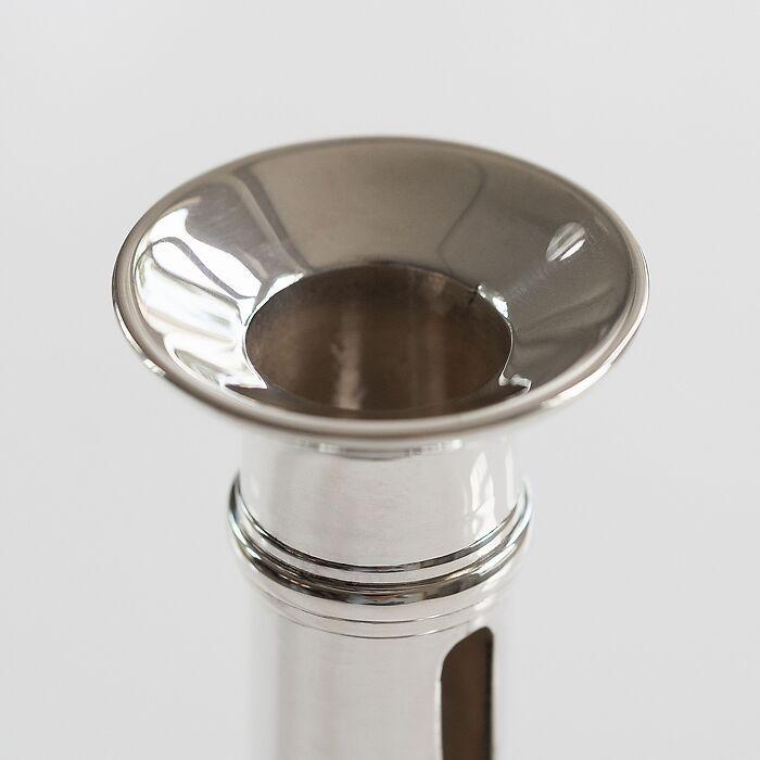 Schiebeleuchter 1830 aus Messing mit Silberauflage