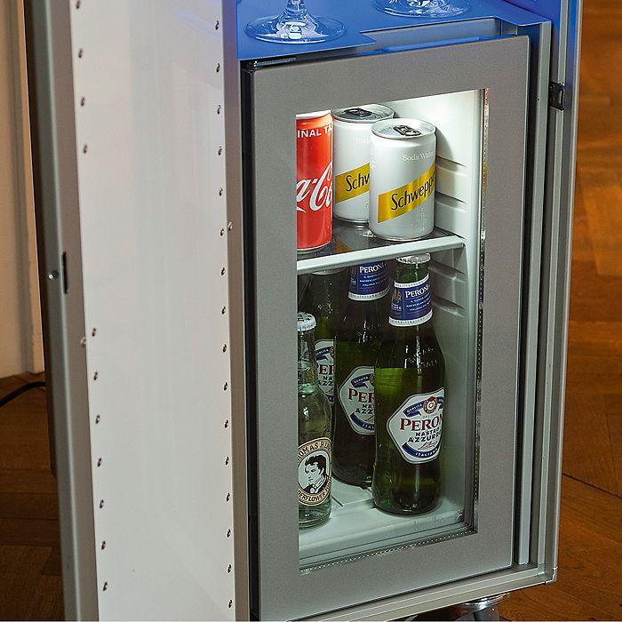 Lufthansa Cocktail Trolley mit Kühlfach und Beleuchtung