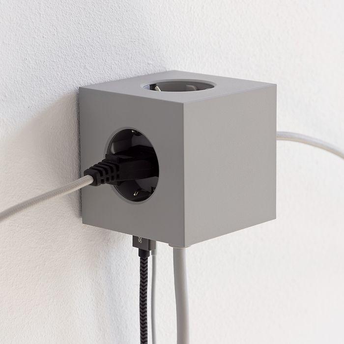 Magnetischer Mehrfachstecker Square 1 Lichtgrau