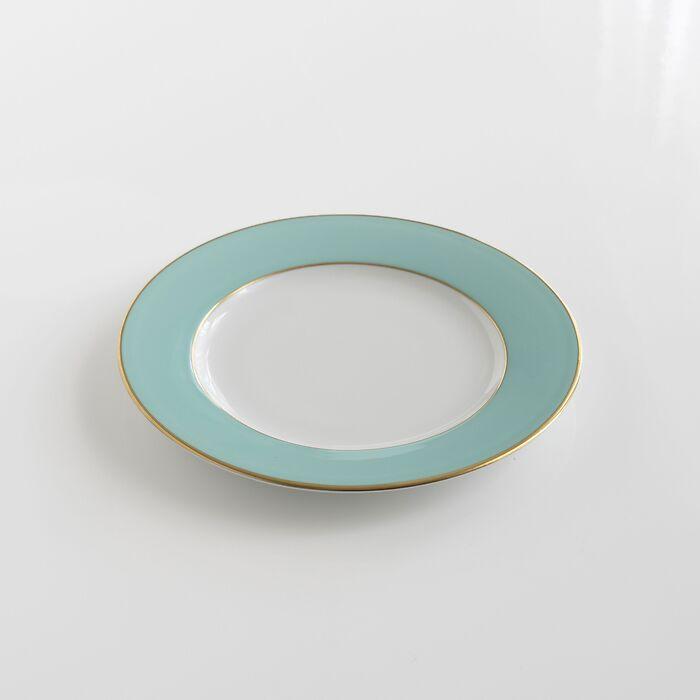 Porcelaine de Limoges Kuchenteller mit Golddekor Mintgrün
