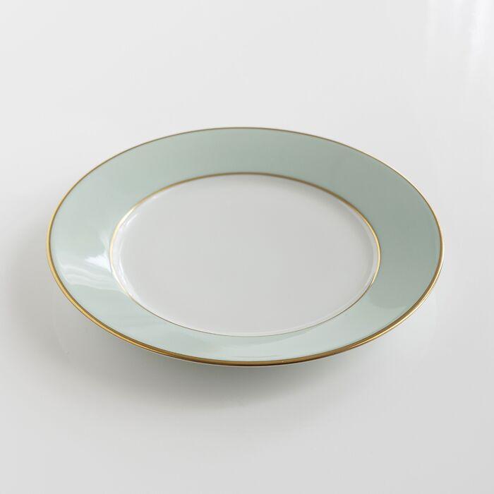 Porcelaine de Limoges Dessertteller mit Golddekor Hellgrün