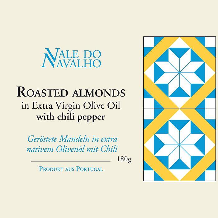 Geröstete Mandeln Olivenöl und Chili