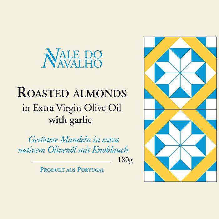 Geröstete Mandeln Olivenöl und Knoblauch