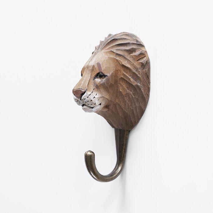 Handgeschnitzter Kleiderhaken Löwe