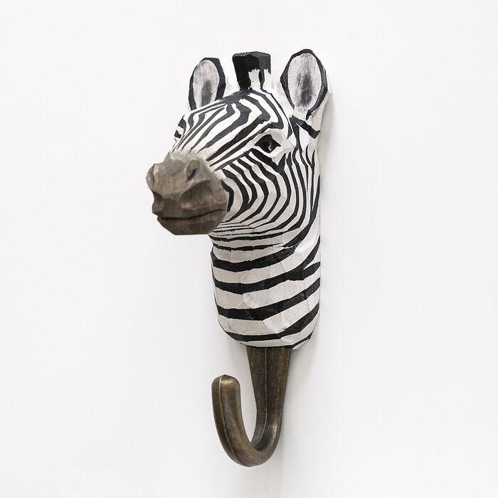Handgeschnitzter Kleiderhaken Zebra