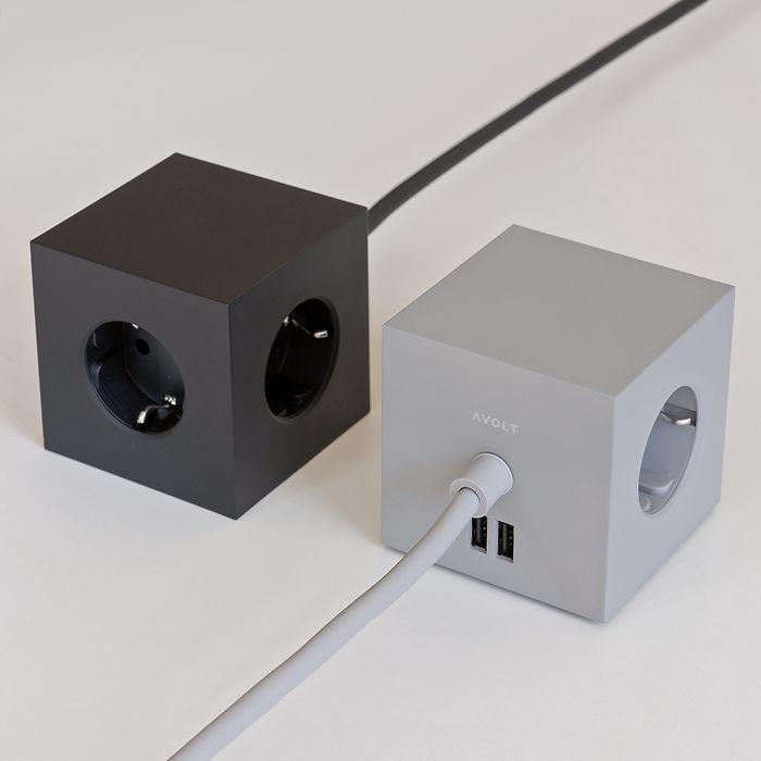 Magnetischer Mehrfachstecker Square 1 Schwarz