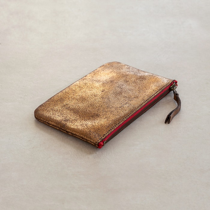 Kleine Leder-Pouche Gold 19 x 12 cm