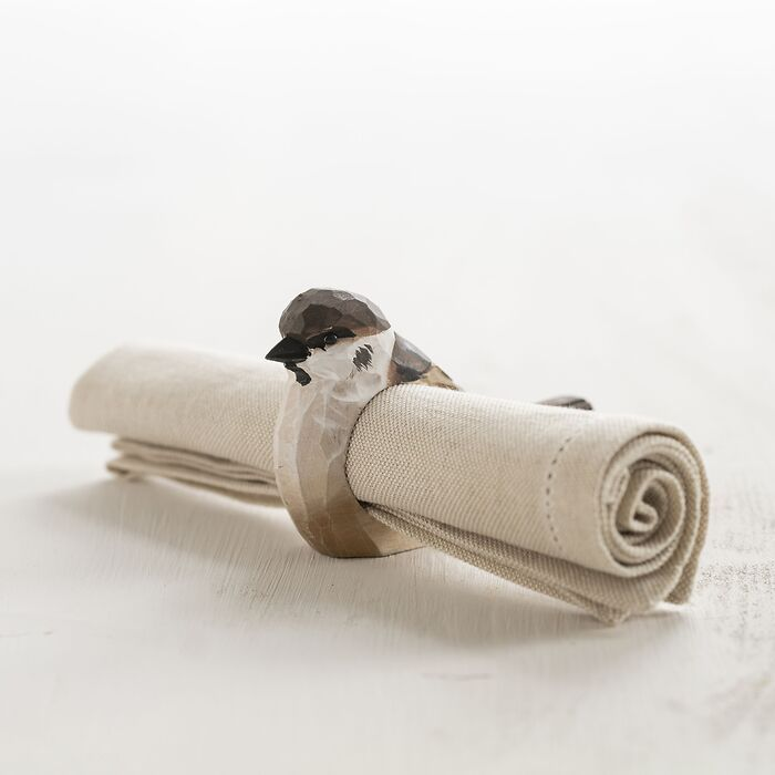 Handgeschnitzter Serviettenring Vogel