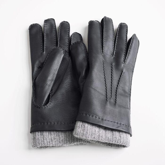 Herrenhandschuhe aus Hirschleder mit Stulpe
