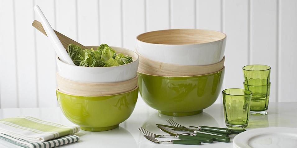 salatschüsseln aus Bambus in vielen schönen farben