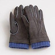 Herrenhandschuhe mit Stulpe Graubraun/Blau Gr. 7,5